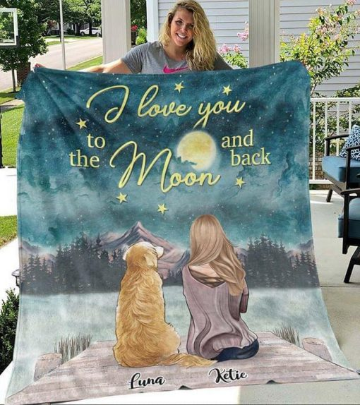 I love you to the moon and back dog personalized fleece blanket
