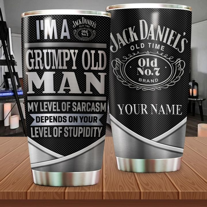 I'm a grumpy old trucker my level of sarcasm depends on your level of stupidity Jack Daniel's personalized tumbler