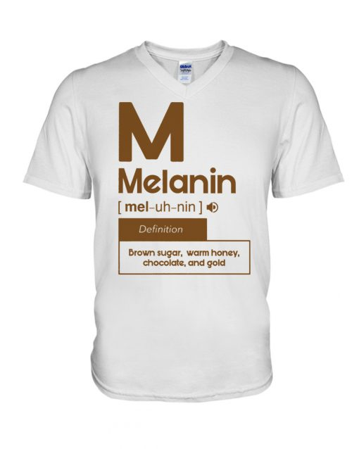 Melanin definition Brown sugar, warm honey, chocolate, and gold v-neck