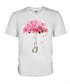 Never give up Flower rose V-neck