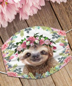 Sloth Flowers Face Mask 0