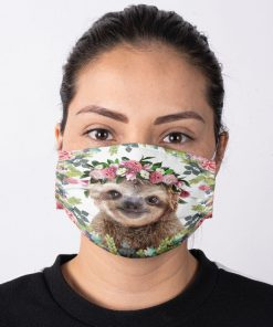 Sloth Flowers Face Mask 11