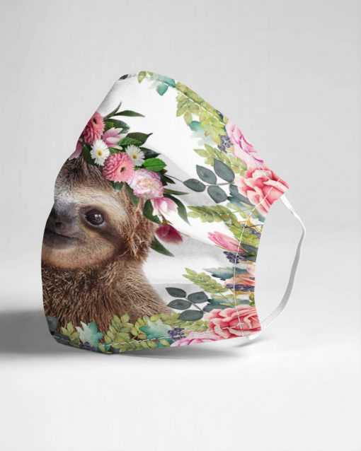 Sloth Flowers Face Mask 3