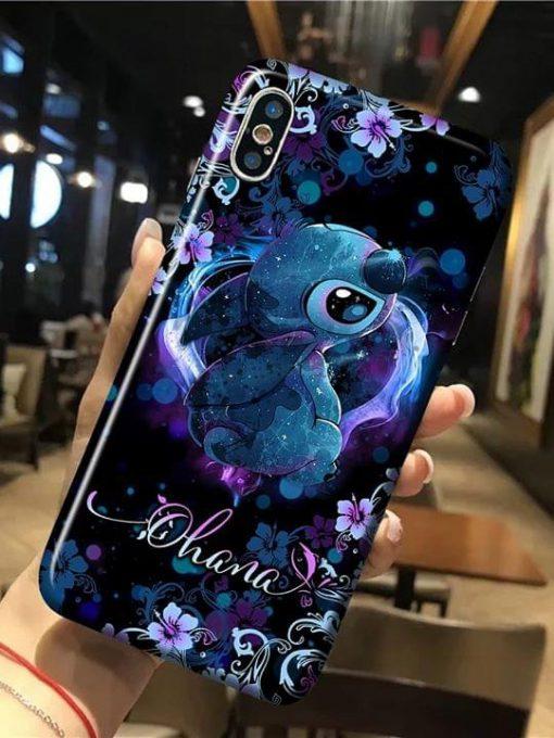 Stitch Ohana flower phone case 0