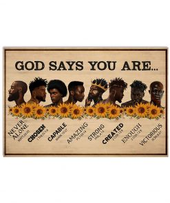 Sunflower Black Men God says you are never alone chosen capable amazing strong poster