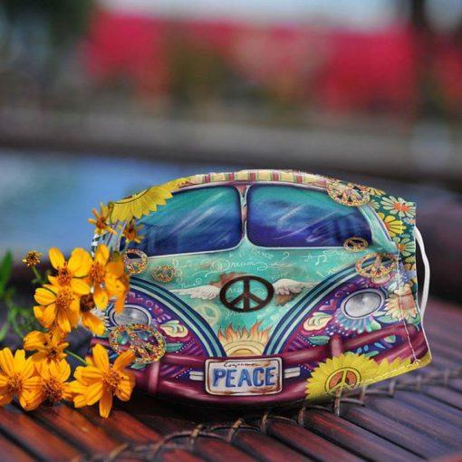 VW Volkswagen Bus Hippie Peace face mask 0