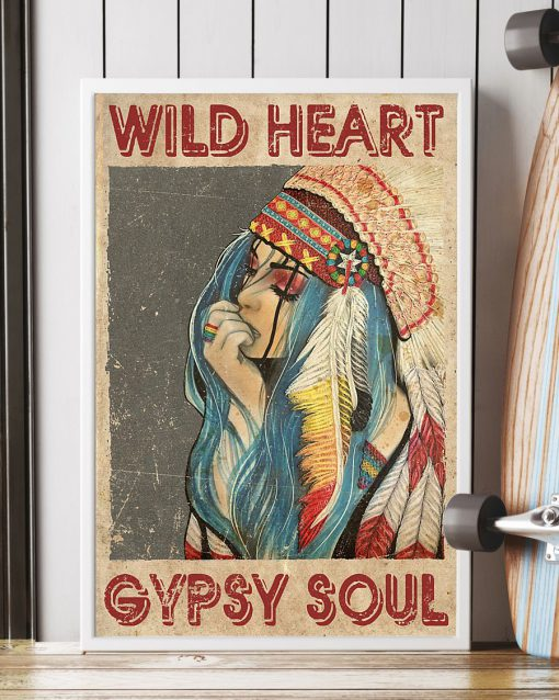 Wild Heart Gypsy Soul Native American Girl Vintage poster 4