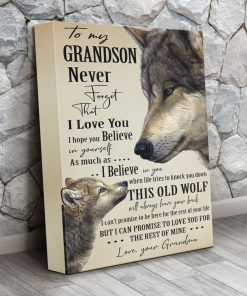 Wolf To my grandson never forget that I love you I hope you believe in yourself canvas 2 3