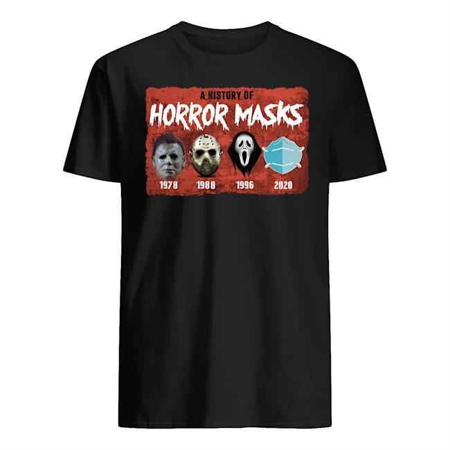 A history of horror masks 1978 1980 1996 2020 T-shirt