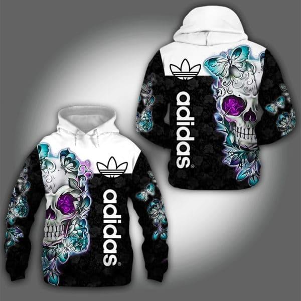 Adidas Skull Flowers 3D hoodie3