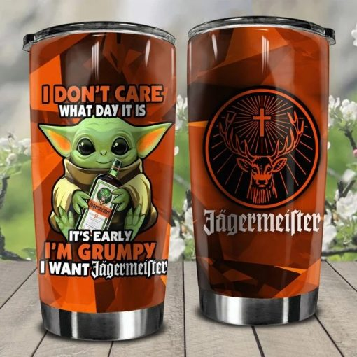 Baby Yoda I don't care What day It is It's early I'm grumpy I want Jagermeister personalized tumbler