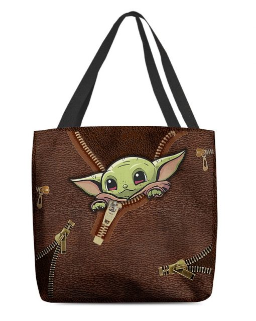 Baby Yoda Leather Zipper All Over Print Tote Bag1