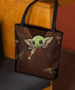 Baby Yoda Leather Zipper All Over Print Tote Bag2