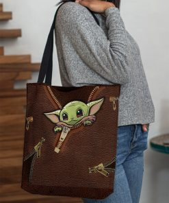 Baby Yoda Leather Zipper All Over Print Tote Bag3