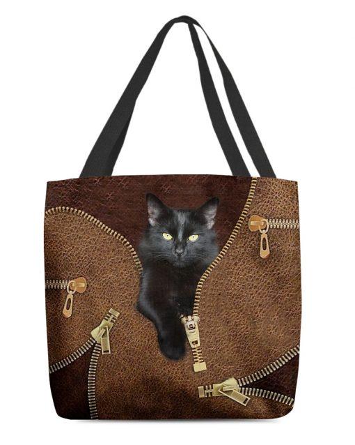 Black Cat Leather Zipper All Over Print Tote Bag 1