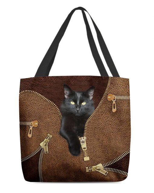 Black Cat Leather Zipper All Over Print Tote Bag 2