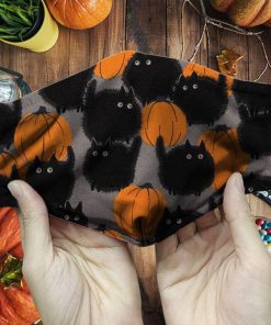 Black Cats Halloween Pumpkin face mask
