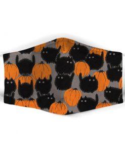 Black Cats Halloween Pumpkin face mask1