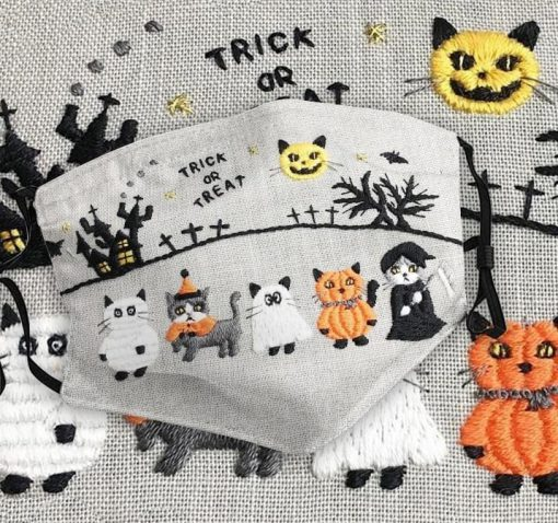 Cat Halloween Trick or treat as embroidered face mask