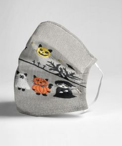 Cat Halloween Trick or treat as embroidered face mask3