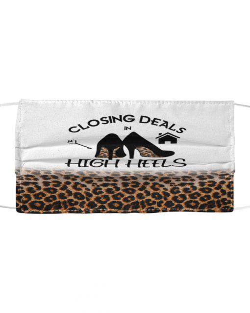 Closing Deals In High Heels Leopard Skin face mask 0