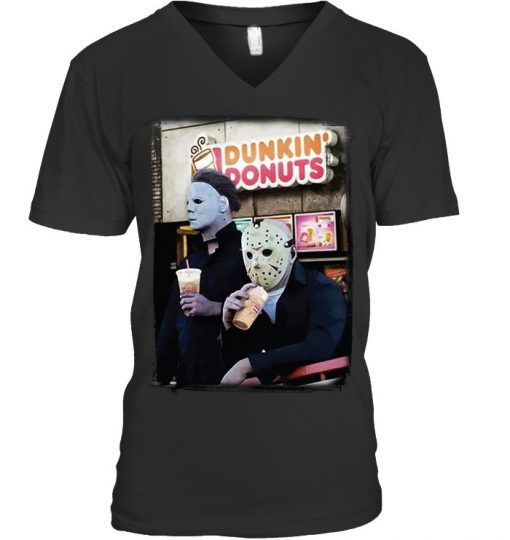Dunkin' Donuts Jason Voorhees - Michael Myers v-neck