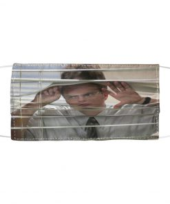 Dwight Schrute Looking Through A Window face mask 1