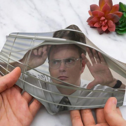 Dwight Schrute Looking Through A Window face mask
