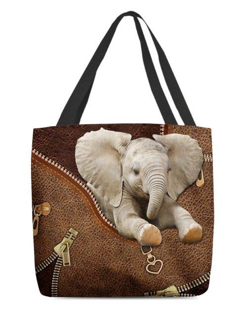 Elephant as Leather Zipper tote bag1