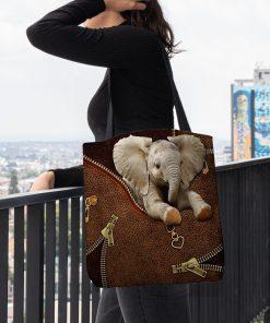 Elephant as Leather Zipper tote bag2