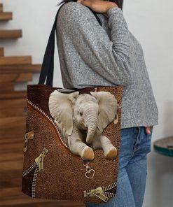 Elephant as Leather Zipper tote bag3
