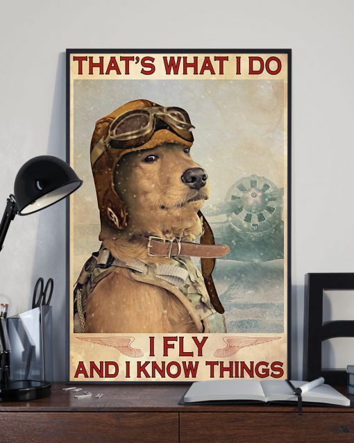 Golden Retriever Pilot That's what I do I fly and I know things poster 3