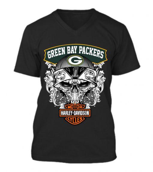 Green Bay Packers Harley Davidson v-neck