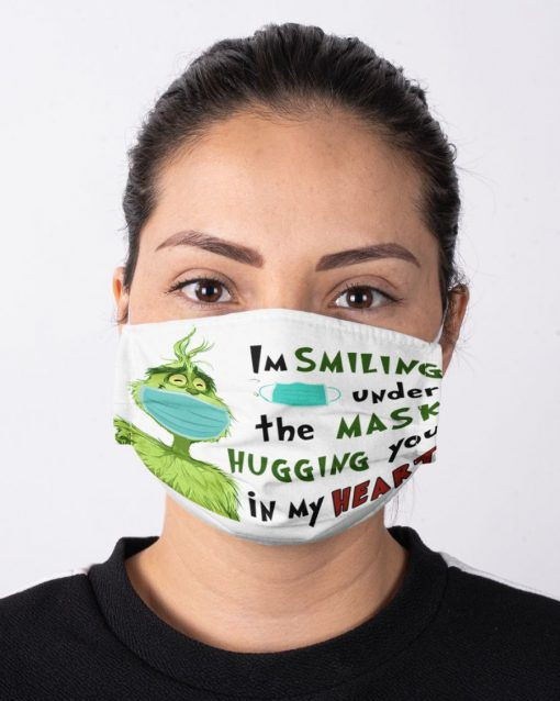 Grinch I'm smiling under my mask hugging you in my heart face mask2
