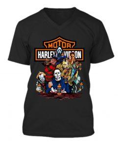 Harley Davidson Horror Film Characters Jack Daniel's v-neck
