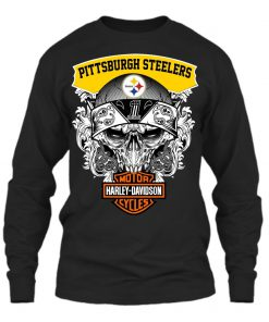 Harley Davidson Pittsburgh Steelers Skull long sleeved