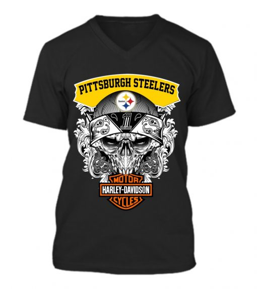 Harley Davidson Pittsburgh Steelers Skull v-neck