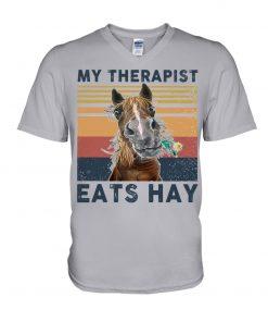 Horse My therapist Eats hay v-neck