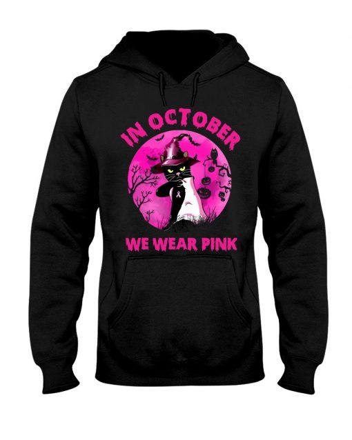 In October we wear pink Cat Halloween Hoodie