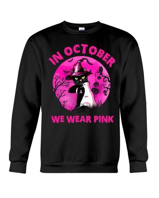 In October we wear pink Cat Halloween Sweatshirt