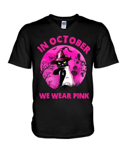 In October we wear pink Cat Halloween V-neck
