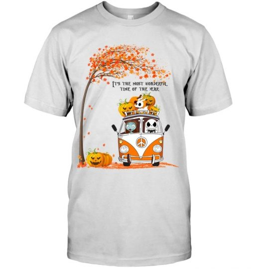 Jack Skellington and Sally It's the most wonderful time of the year VW Volkswagen Bus Hippie Peace T-shirt