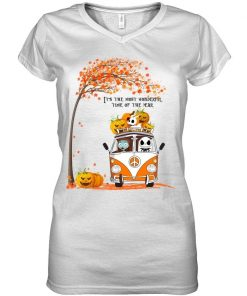 Jack Skellington and Sally It's the most wonderful time of the year VW Volkswagen Bus Hippie Peace V-neck