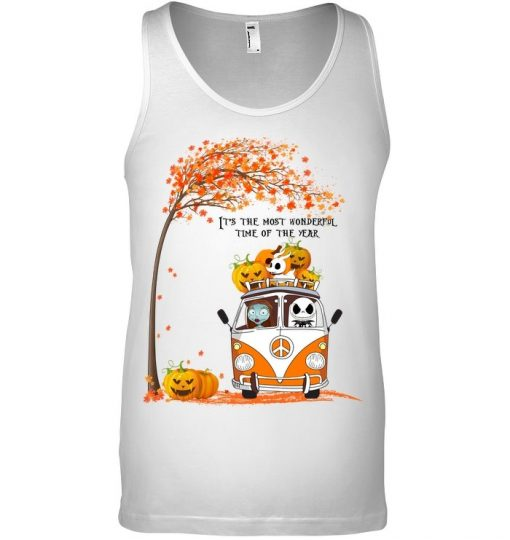 Jack Skellington and Sally It's the most wonderful time of the year VW Volkswagen Bus Hippie Peace tank top