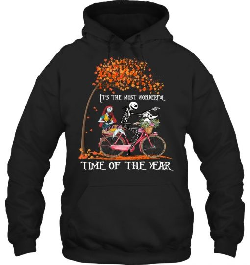 Jack Skellington and Sally It's the most wonderful time of the year bicycle Hoodie