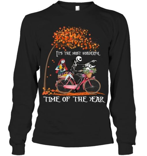 Jack Skellington and Sally It's the most wonderful time of the year bicycle Long sleeve