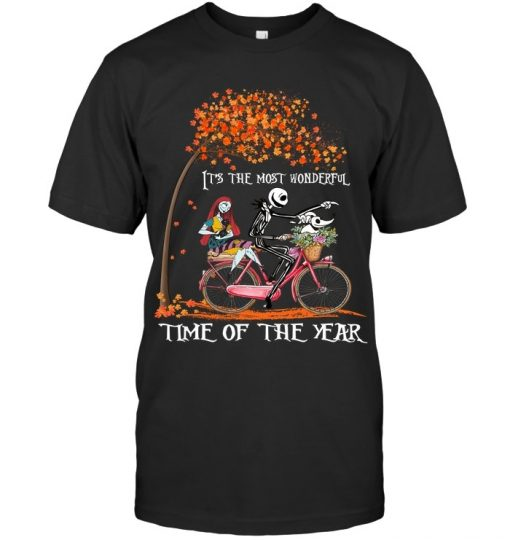 Jack Skellington and Sally It's the most wonderful time of the year bicycle T-shirt