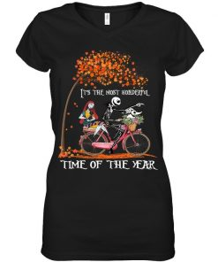Jack Skellington and Sally It's the most wonderful time of the year bicycle V-neck