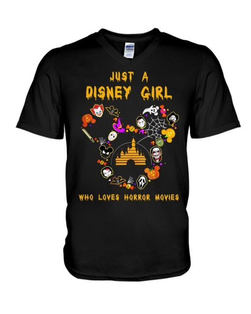 Just a Disney girl who loves horror movies v-neck