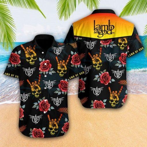 Lamb Of God Skull Flowers Hawaiian shirt